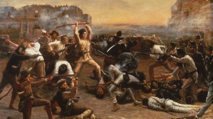 Painting of Davy Crockett (center) and the other defenders of the Alamo.