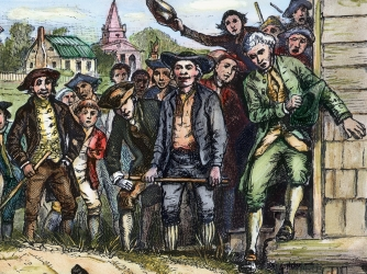 Engraving depicting a brawl between a Massachusetts government supporter and a rebel during Shays's Rebellion.