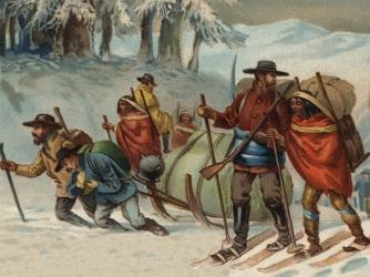 Illustration of miners en route to Klondike.