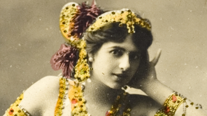 Hand colored postcard of Mata Hari performing , 1907. (Credit: Michael Nicholson/Corbis via Getty Images)