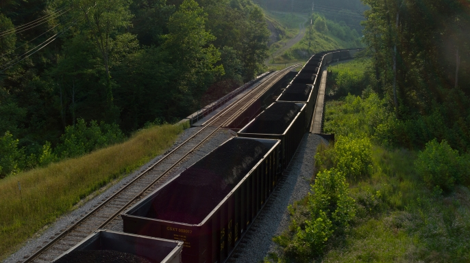 A coal train outside of a processing plant near Blair, West Virginia.