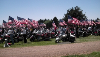 Vets on Harleys Escorting Civil War Soldier's Ashes Home