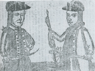 Contemporary engraving depicting Daniel Shays and Job Shattuck.