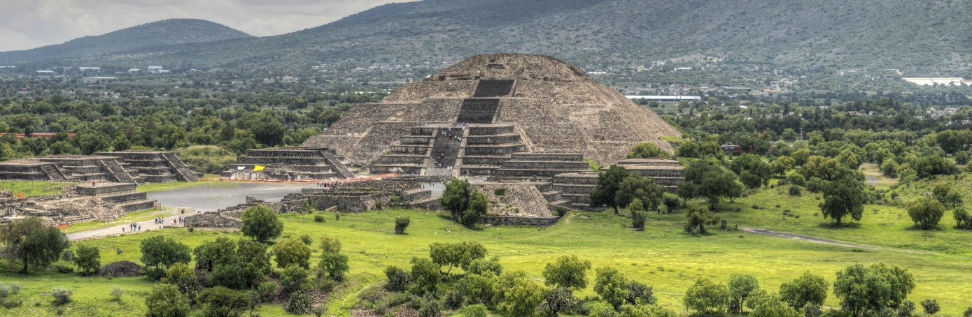 The ancient Pyramid of the Moon, the second-largest pyramid in Teotihuacan, Mexico.