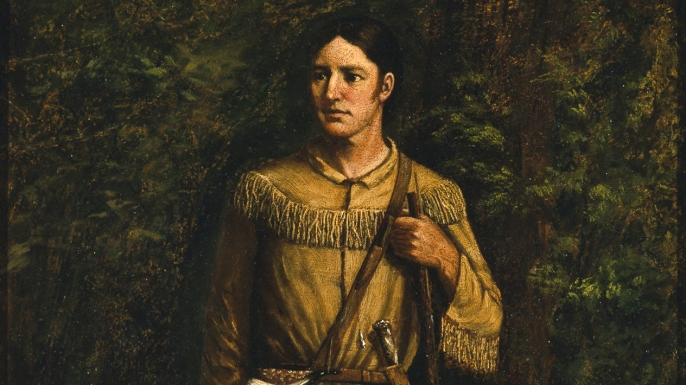 Portrait of Crockett by William Henry Huddle.