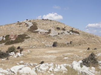 South hill of Mount Lykaion with the ash altar of Zeus at its top.