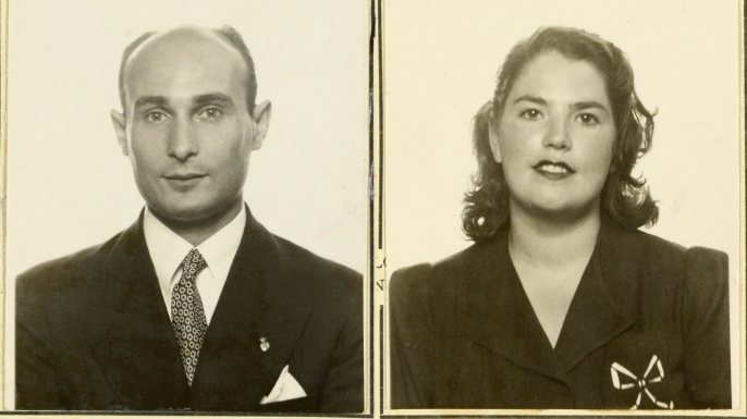 """Juan Pujol García """"Garbo"""" (left) and Araceli Pujol García (right). (Credit: National Archives)"""