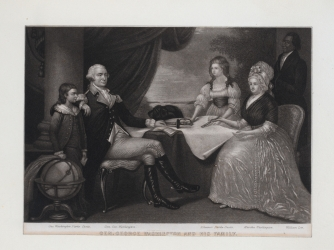 George Washington and his family, George Washington Parke Custis, Eleanore Parke Custis, Martha Washington, William Lee. (Credit: Public Domain)