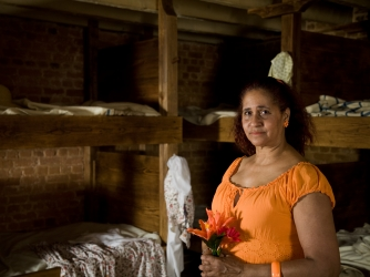 ZSun-nee Miller-Matema in the Slave Quarters at Mount Vernon. (Credit: Benjamin C Tankersley/Getty Images)