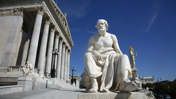 Statue of the Greek historian Thucydides by the Parliament building, Vienna, Austria. (Credit: Yadid Levy / Getty Images)
