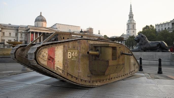A replica Mark IV tank displayed in London's Trafalgar Square to mark the tank's centennial.