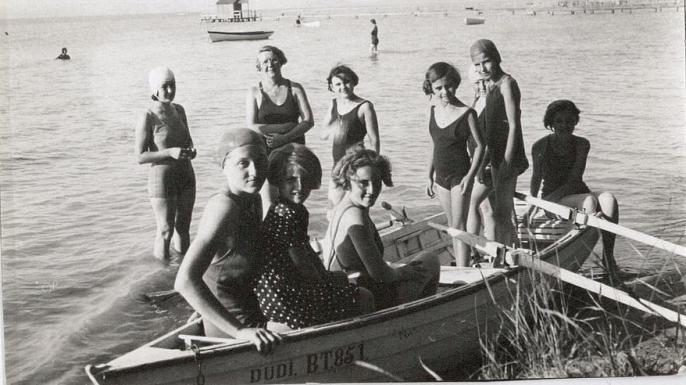 Jane Haining and her students vacationing on Lake Balaton. (