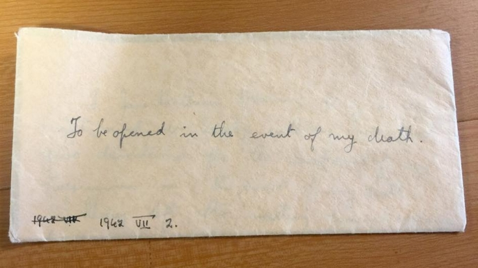 The envelope containing Jane Haining's will.