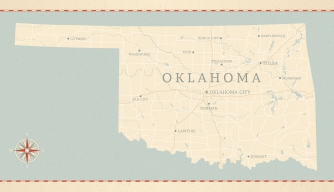 Vintage map of oklahoma, sooner state