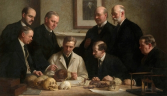 Painting depicting scientists with the Piltdown Man skull. Back row (l to r): F.O. Barlow, G. Elliot, Charles Dawson, Arthur Smith Woodward. Front row (l to r): A.S. Underwood, Arthur Keith, W.P. Pycraft and Ray Lankester.