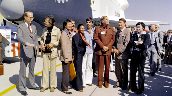 "The cast of the original ""Star Trek"" attend the rollout of the space shuttle Enterprise in 1976."