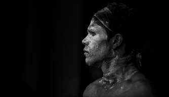 An indigenous dancer at an annual celebration of aboriginal culture in Sydney, Australia.