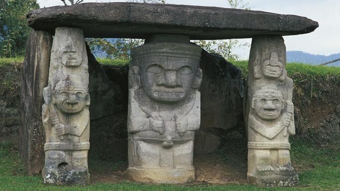 """""""Guardian statues"""" at San Agustín."""
