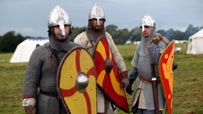 Members of an historical re-enactment groups prepare for the annual re-enactment of the Battle of Hastings.