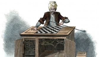 'The Automaton Chess Player', 1845. Illustration published in The Illustrated London News. (Credit: The Print Collector/Print Collector/Getty Images)
