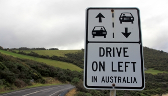 Drive on left Australia road sign.