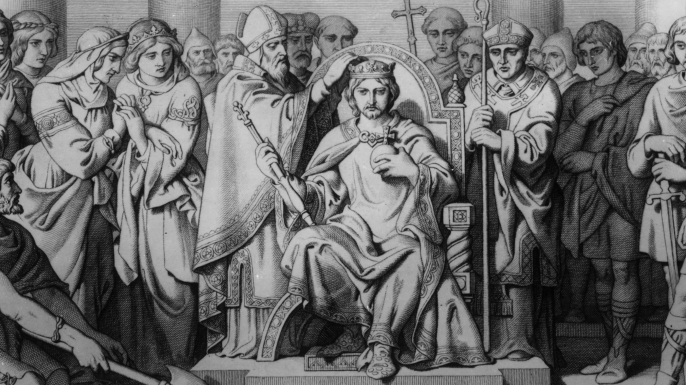 The coronation of King Harold II in January 1066.