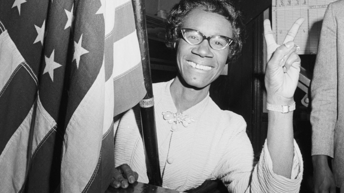 Shirley Chisholm gives the victory sign after winning the Congressional election in Brooklyn's 12th District. (Credit: Bettmann/Getty Images)