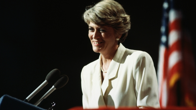 Vice Presidential candidate Geraldine Ferraro speaks to the 1984 Democratic Convention and accepts their nomination. (Credit: Wally McNamee/Getty Images)