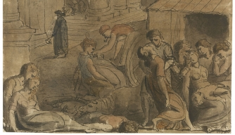 Drawing by William Blake of plague victims.