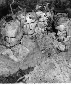 Mount Rushmore under construction. (Credit: NPS, Mount Rushmore National Memorial)