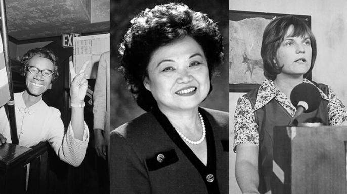 From left to right, Shirley Chisholm (Credit: Bettmann/Getty Images), Patsy Mink (Credit: Public Domain) and Linda Jenness (Credit: Phil Slattery/Getty Images)