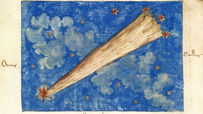 Painting of the comet of 1532, which was later identified as Halley's Comet. (Credit: Science & Society Picture Library/SSPL/Getty Images)
