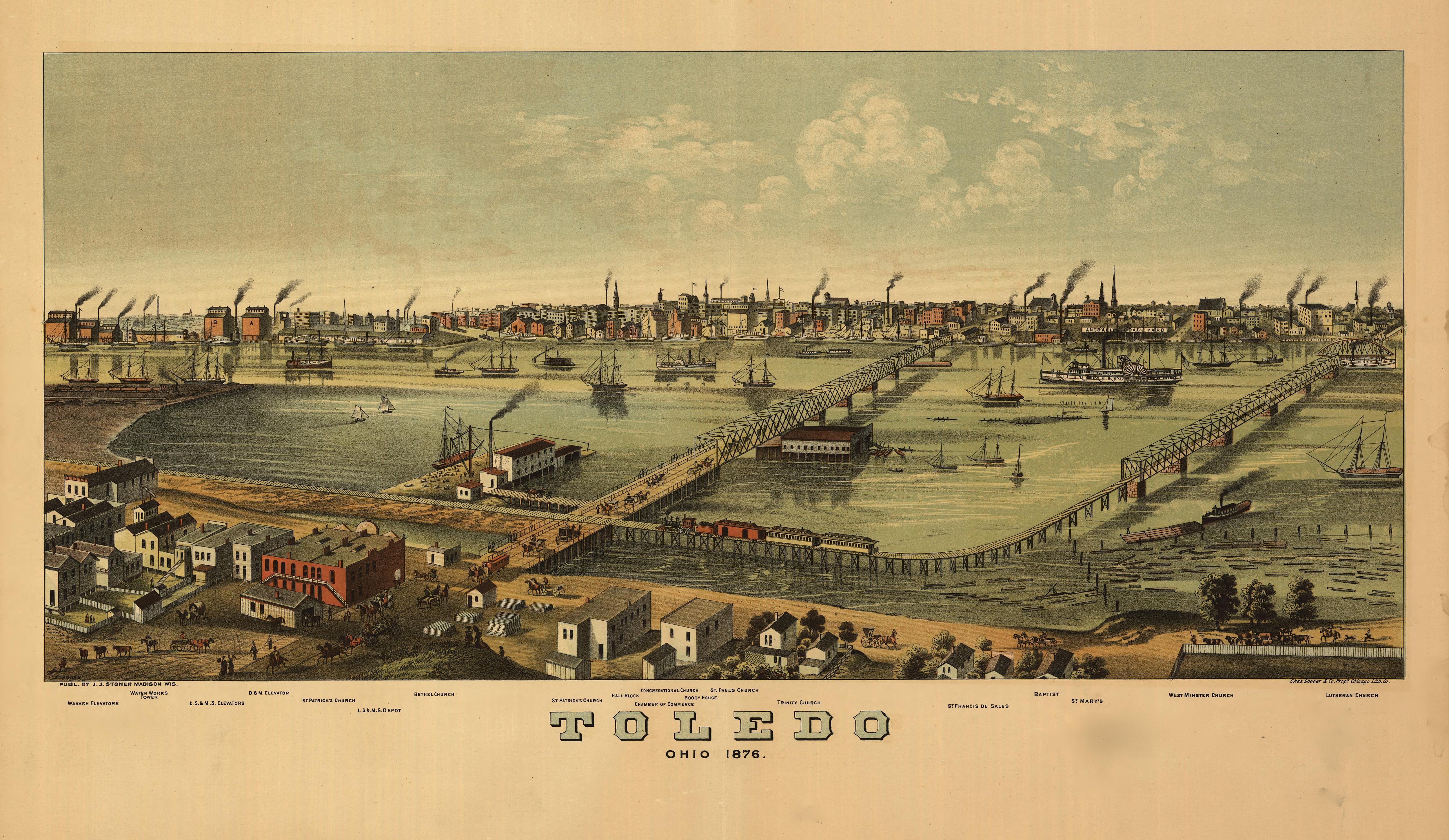 Ohio lucas county maumee - An Elevated Bird S Eye View Of Toledo Ohio 1876