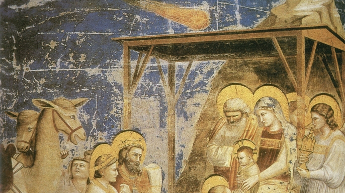 """Giotto's """"Adoration of the Magi,"""" which may depict Halley's Comet. (Credit: NYPL/Science Source/Getty Images)"""