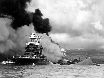 American battleship USS Maryland, relatively unscathed in the surprise attack on Pearl Harbor.  (Credit: Time Life Pictures/Getty Images)