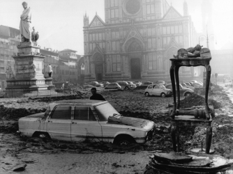 Flood damage in Florence, November 1966.  (Credit: Keystone-FranceGamma-Rapho/Getty Images)