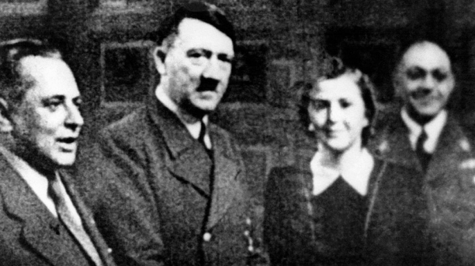 Hitler and Eva Braun, c. 1940. Thedor Morell is far right. (Credit: Keystone-FranceGamma-Rapho via Getty Images)