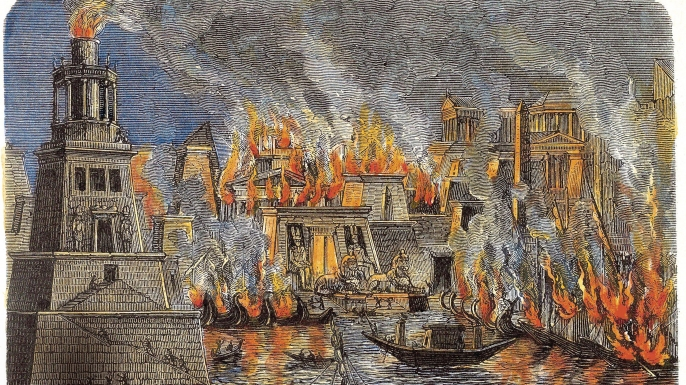The Burning of the Library of Alexandria, 1876. Private Collection. (Credit: Fine Art Images/Getty Images)