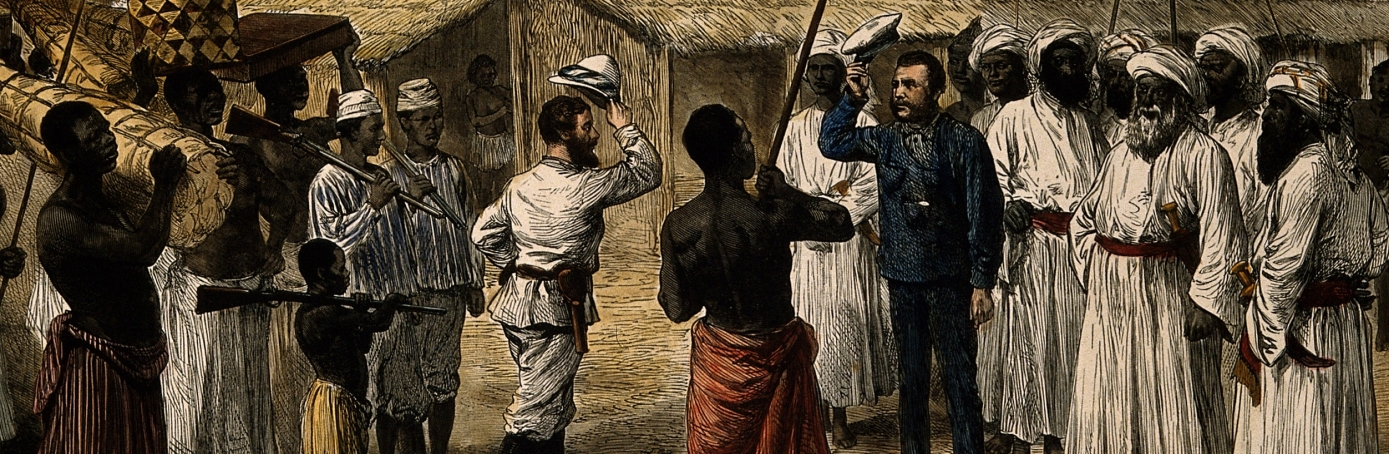 Drawing of Stanley's 1871 meeting with Livingstone. (Credit: Wellcome Library, London. Wellcome Images)