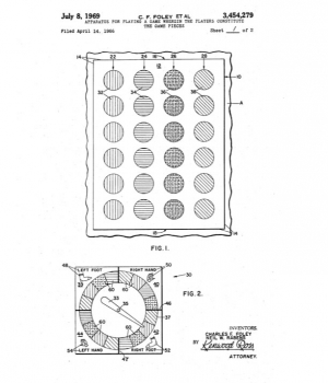 "The original patent for the game later known as ""Twister."""