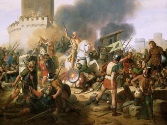 Count Odo defends Paris against the Norsemen.