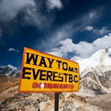 "Signpost ""Way to Mount Everest Base Camp."" (Credit: hadynyah/www.istockphoto.com)"