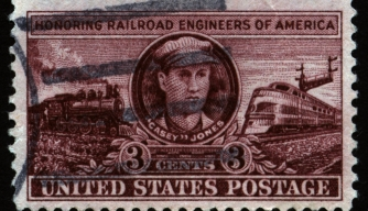 Casey Jones, as depicted on a United States Postal Service. (Credit: Public Domain)
