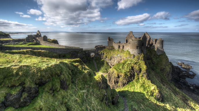 Dunluce Castle is a now-ruined medieval castle in Northern Ireland. (Credit: gareth wray)