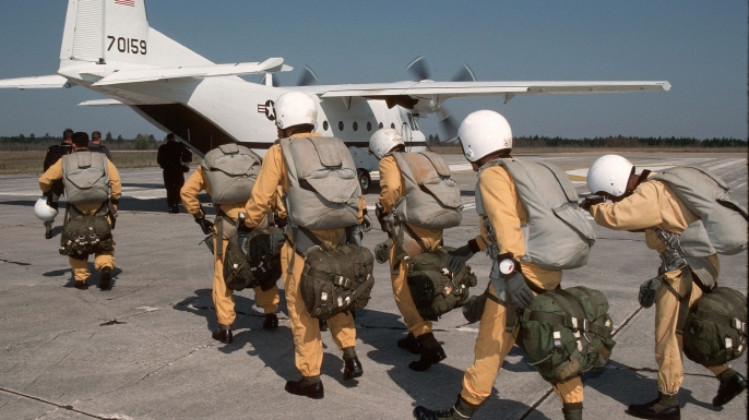 Members of Delta Force Special Operations preparing to conduct HALO (HIgh Altitude Low Opening) training. (Credit: Greg Mathieson/Getty Images)