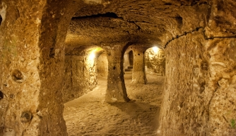 Derinkuyu Underground City is an ancient multilevel underground city in the Derinkuyu district in Nevsehir Province, Turkey. (Credit: ralucahphotography.ro/Getty Images)