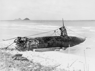 Japanese 'midget' submarine on the beach at Bellows Field, Hawaii, after the attack on Pearl Harbor. (Credit:VCG Wilson/Getty Images)