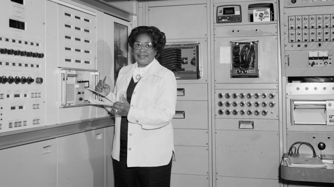 Mary Jackson at Work NASA Langley. (Credit: NASA)