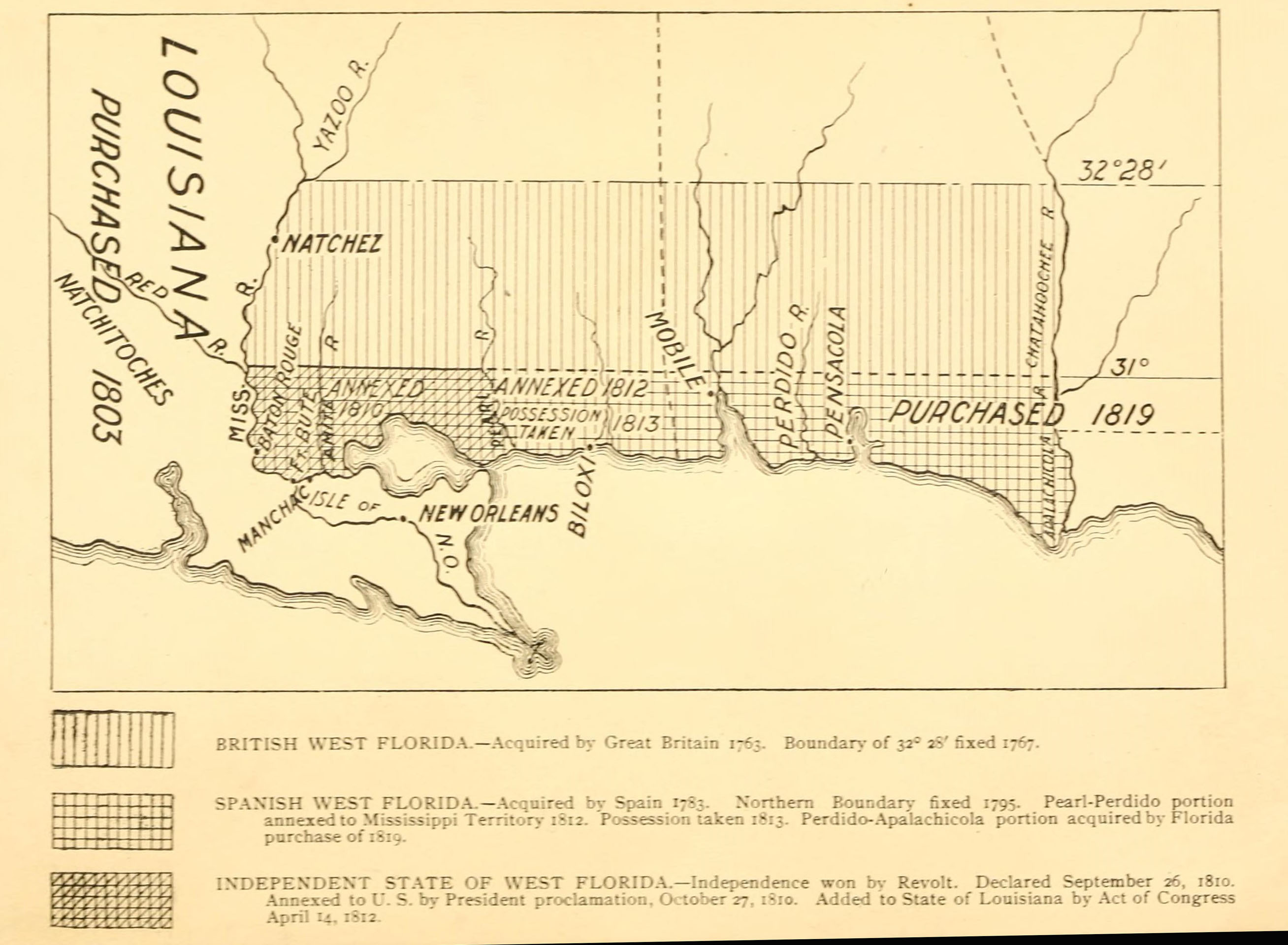 A 1903 Map Showing The Territorial Changes Of West Florida A Historical Region