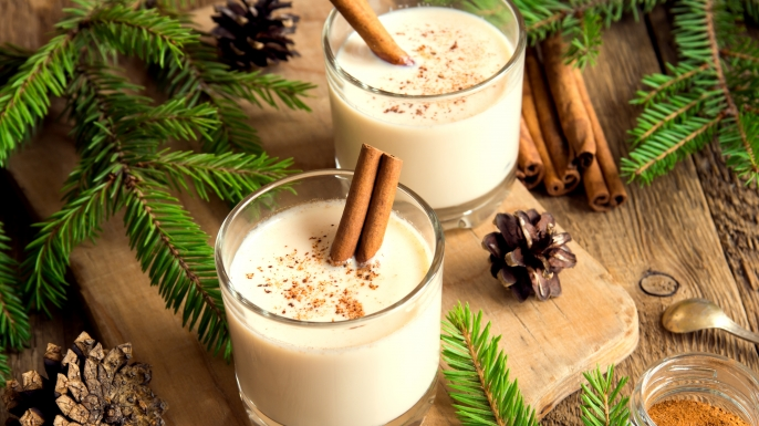 Eggnog with cinnamon for Cristmas and winter holidays. (Credit: Mizina)